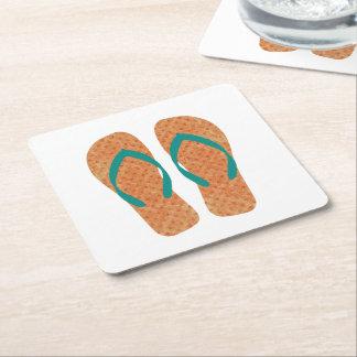 Práctico de costa verde anaranjado del flip-flop posavasos personalizable cuadrado