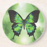 Práctico de costa verde de la mariposa posavasos personalizados