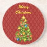 Práctico de costa verde del árbol de navidad posavasos manualidades
