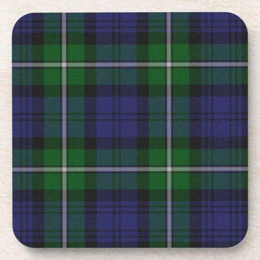 Práctico de costa verde y azul de la tela escocesa posavasos de bebidas