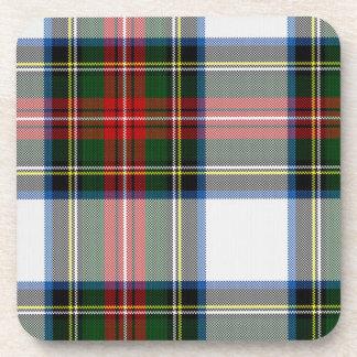 Práctico de costa verde y rojo de la tela escocesa posavaso