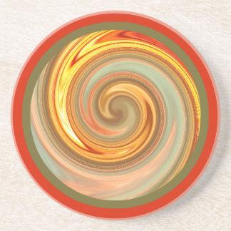 Práctico de costa vibrante del fractal del espiral posavaso para bebida