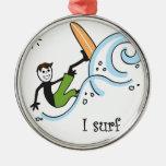 Practico surf deporte al aire libre ornamento para arbol de navidad