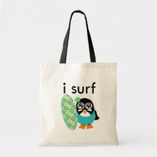 Practico surf el pingüino bolsa tela barata
