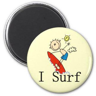 Practico surf las camisetas y los regalos imán redondo 5 cm