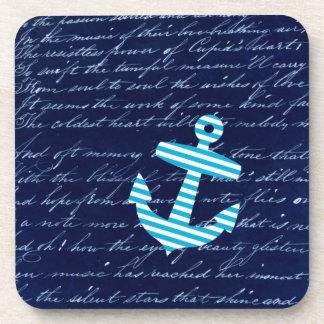 Prácticos de costa azules rayados náuticos del anc posavasos de bebidas