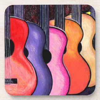 Prácticos de costa coloreados multi de las guitarr posavasos