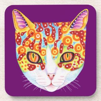 Prácticos de costa coloridos del gato - sistema de posavaso