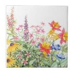 Prácticos de costa de cerámica de la acuarela flor azulejos