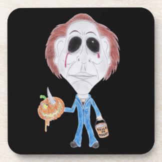 Prácticos de costa de la caricatura del asesino en posavasos de bebidas