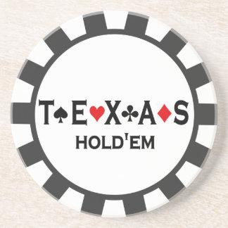 Prácticos de costa de la ficha de póker de Tejas H Posavasos Para Bebidas