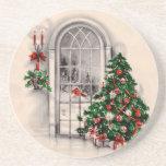 Prácticos de costa de la ventana del navidad del v posavasos personalizados