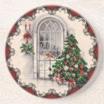 Prácticos de costa de la ventana del navidad del v posavaso para bebida