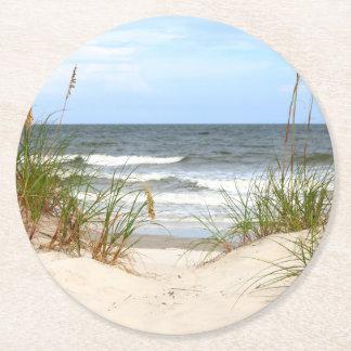 Prácticos de costa de papel de la playa posavasos personalizable redondo