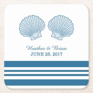 Prácticos de costa de papel de los Seashells Posavasos De Cartón Cuadrado
