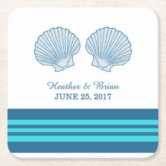 Prácticos de costa de papel de los Seashells Posavasos Desechable Cuadrado