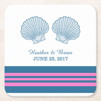 Prácticos de costa de papel de los Seashells Posavasos Personalizable Cuadrado
