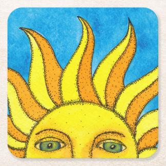 Prácticos de costa de papel de Sun del verano Posavasos De Cartón Cuadrado