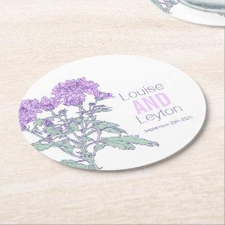 Prácticos de costa de papel gráficos de la flor posavasos de cartón redondo