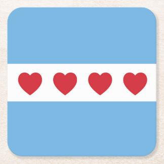 Prácticos de costa del amor de Chicago Posavasos De Cartón Cuadrado