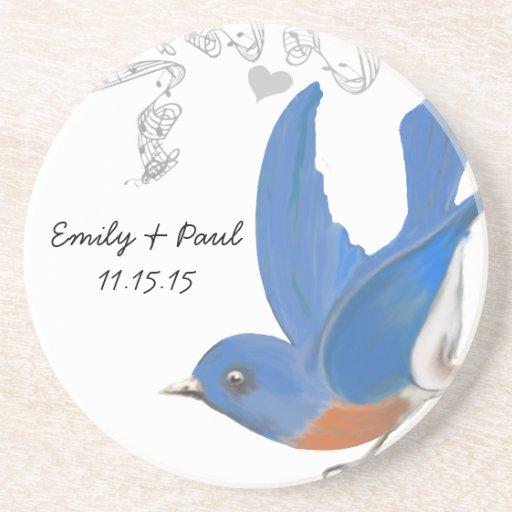 Prácticos de costa del Bluebird del vintage Posavasos Personalizados