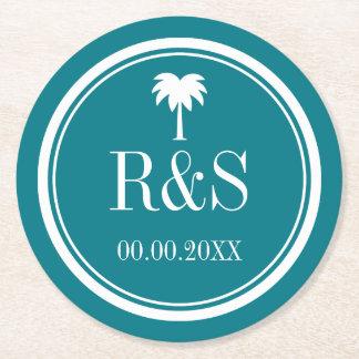 Prácticos de costa del boda del monograma de las posavasos de cartón redondo