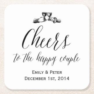 Prácticos de costa del boda del vintage posavasos personalizable cuadrado