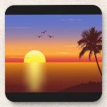 Prácticos de costa del corcho de la puesta del sol posavasos de bebida
