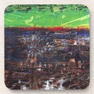 Prácticos de costa del corcho del arte abstracto posavasos de bebidas