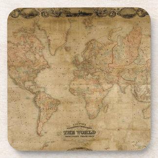 Prácticos de costa del corcho del vintage del mapa posavaso