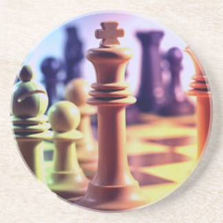 Prácticos de costa del juego de ajedrez posavasos personalizados