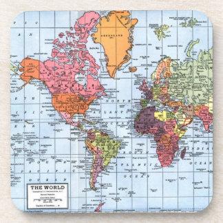 Prácticos de costa del mapa del mundo posavasos de bebidas
