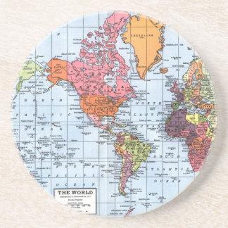 Prácticos de costa del mapa del mundo posavasos manualidades
