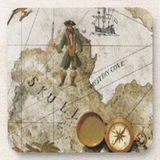Prácticos de costa del mapa del pirata posavasos