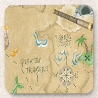 Prácticos de costa del mapa del tesoro posavasos