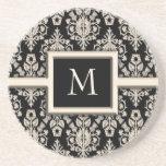 Prácticos de costa del monograma del damasco posavasos diseño