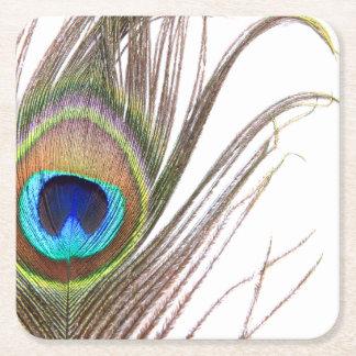 Prácticos de costa del papel de la pluma del pavo posavasos personalizable cuadrado