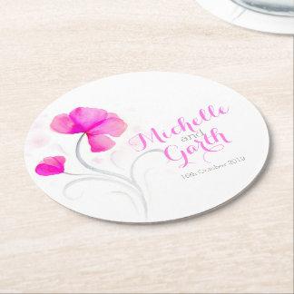 Prácticos de costa del papel del rosa de la flor posavasos de cartón redondo