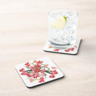 Prácticos de costa florales rojos del jardín de posavasos para bebidas