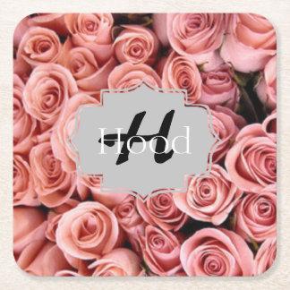 Prácticos de costa florales rosados posavasos desechable cuadrado