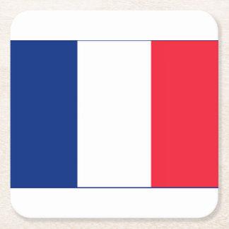 Prácticos de costa franceses de la bandera posavasos desechable cuadrado