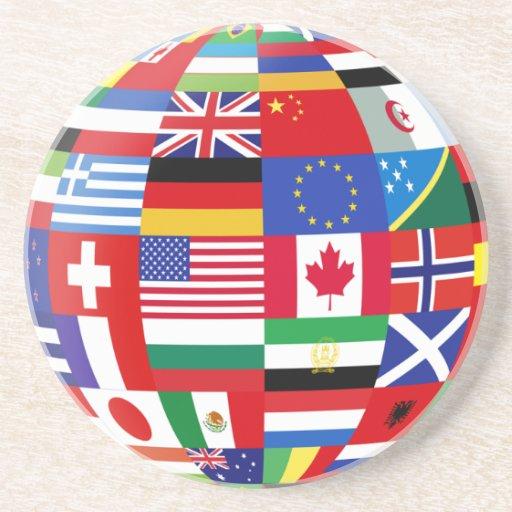 Prácticos de costa globales de las banderas posavasos personalizados