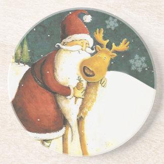 Prácticos de costa lindos de Papá Noel del vintage Posavasos Personalizados