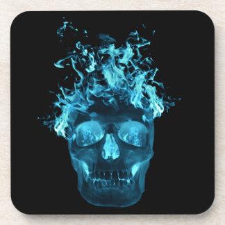 Prácticos de costa llameantes azules del cráneo posavasos de bebidas