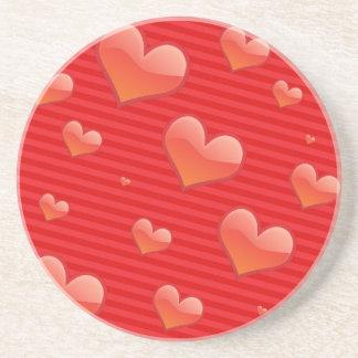 Prácticos de costa modelados corazón rojo redondo posavasos personalizados