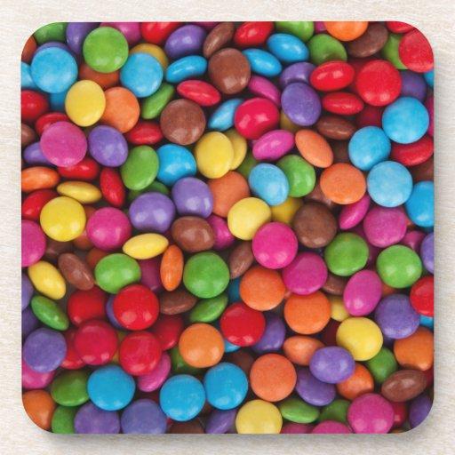 Prácticos de costa multicolores del caramelo posavasos de bebida