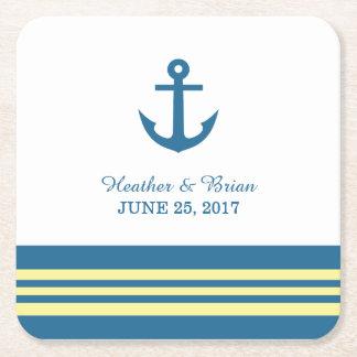 Prácticos de costa náuticos amarillos azules del posavasos de cartón cuadrado