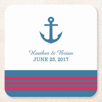 Prácticos de costa náuticos del papel del boda del posavasos de cartón cuadrado