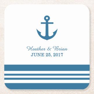 Prácticos de costa náuticos del papel del boda del posavasos personalizable cuadrado