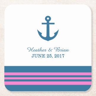 Prácticos de costa náuticos rosados azules del posavasos de cartón cuadrado